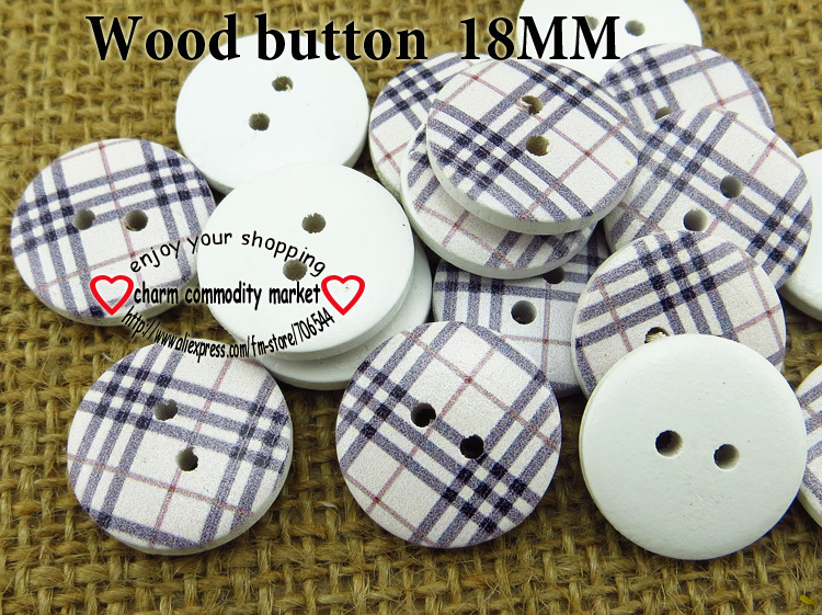 ᗛ100 unids 18mm línea de color pintura botones de madera ropa de ...