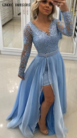 Синяя Длинные рукава Выпускные платья со съемной юбкой 2019 длинное шифоновое вечернее платье из тюля с бусинами v образным вырезом с разрезо