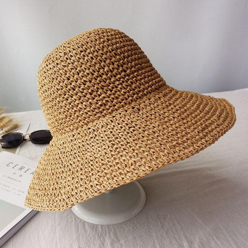 Sombrero de sombrilla de Verano para Mujer al Aire Libre Sombrero Superior vac/ío Sombrero de protecci/ón Solar Protecci/ón UV Sombreros de Playa Sombrero Tejido de Paja Sombreros de Visera