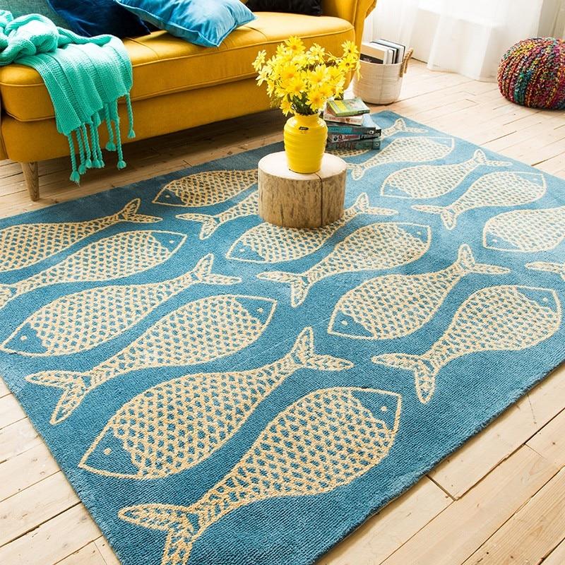 Tapis motif bleu de mer et poissons, grand tapis de sol rectangle de salon, tapis de table basse, tapis de décoration pastorale pour la maison