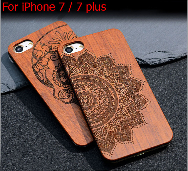 New Carving Wood Case for iPhone 7 Retro Genuine Rosewood Bamboo Wooden Hard PC Case Cover for iPhone 5 5s se 6 6s 7 plus + Film