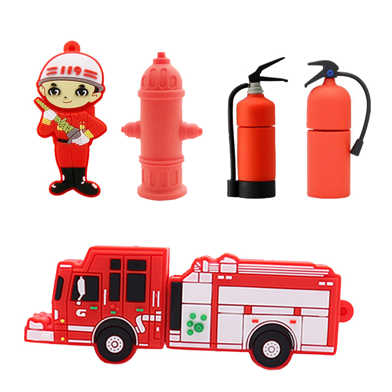 Cartoon Fireman Pendrive Fire Truck/water Valve Usb Flash Drive 64g 32gb 16gb 8g 4gb Memory Stick Fire Extinguisher Gift Cle Usb