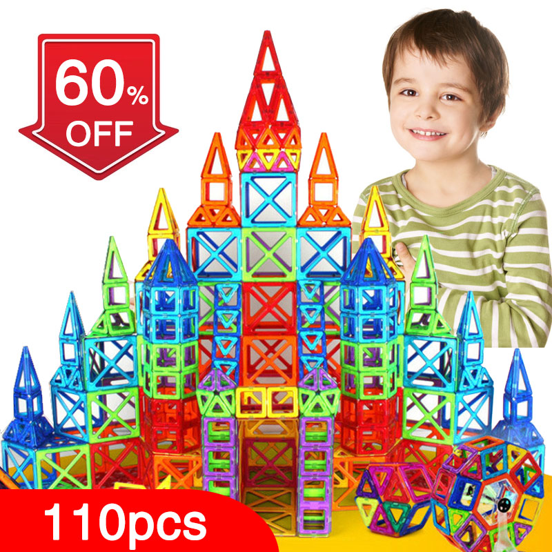 New 110pcs Mini Magnetic Designer Construction Set Model & Building Toy Plastic Magnetic Blocks Educational Toys For Kids Gift telecool magnetic building blocks toys mini 80 100 pcs diy set inspire kids educational construction designer toy
