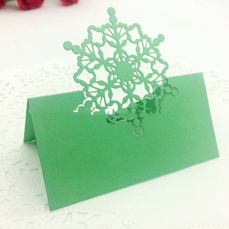 100pcs Luxury Hollow Seat Card Snowflakes Laser Cut Wedding Party Table Place Name Place Guests Cards Favor Decoration (2)