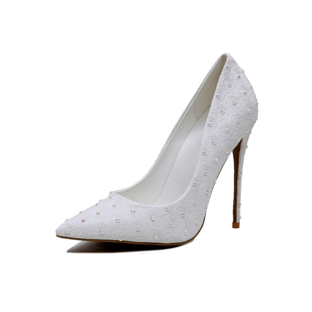 ФОТО Gorgeous Women Pumps 2017 Elegant Pointed Toe Thin Heels Wedding Pumps Fashion White Shoes Woman Plus Size 4-10.5