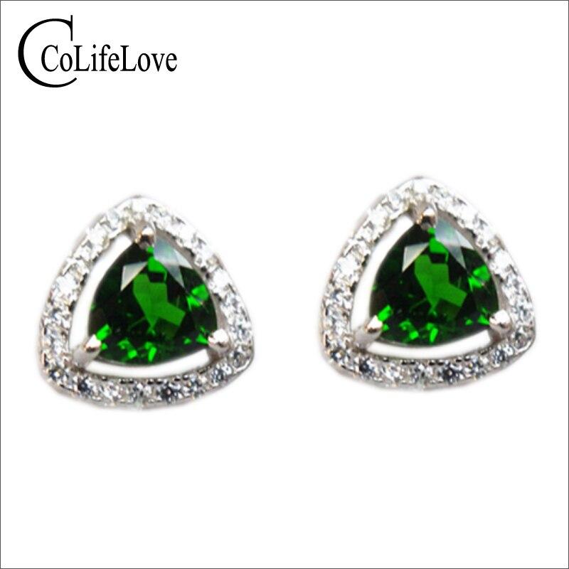 Romantic heart shape diopside gem stud earrings 5 5mm natural russian emerald earrings solid 925 silver