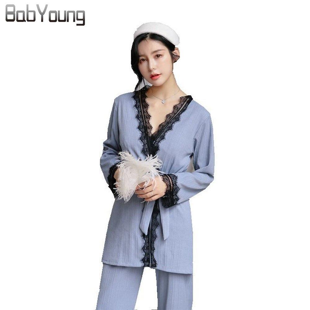 BabYoung Winter Women   Pajamas     Set   Cotton Lace Patchwork Pyjama Femme Nightwear Long Sleeve Ladies Sleepwear Pijama Mujer Gray PJ