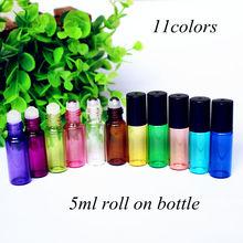 5 unidades/Paquete de 5ml de botella de cristal de Perfume ámbar con rodillo de bolas viales de vidrio/Metal para aceites esenciales botella de Perfume rellenable Roll on