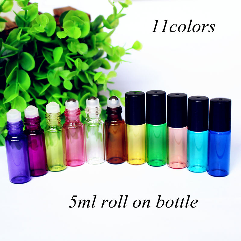 5pcs/pack 5ml Amber Perfume Glass Bottle with Glass/Metal Ball Roller Essential Oil Vials Refillable Perfume Roll on Bottle-in Refillable Bottles from Beauty & Health