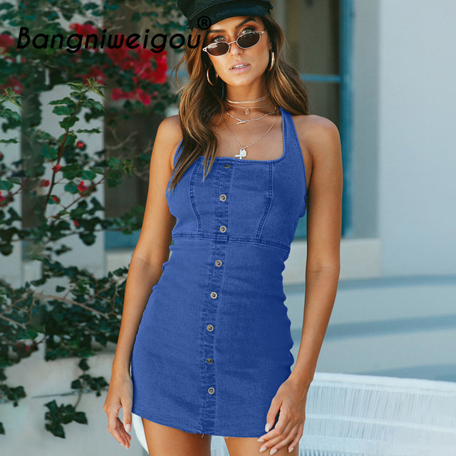 1df1008fd8 Bangniweigou Blue Button Front Stretch Denim Bodycon Dress Women Square  Neck Backless Zip Up Halter School Dress Casual