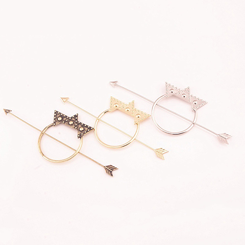 Women Hairclip Jewelry Geometric Silver Arrow Star Hair Accessory