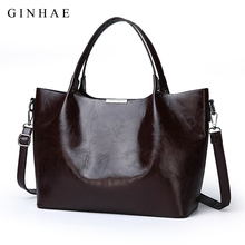 db44396d14 2018 Fashion Europe And America Women Tote Bags Brand Designer Oil Leather  Handbags Women Large Capacity