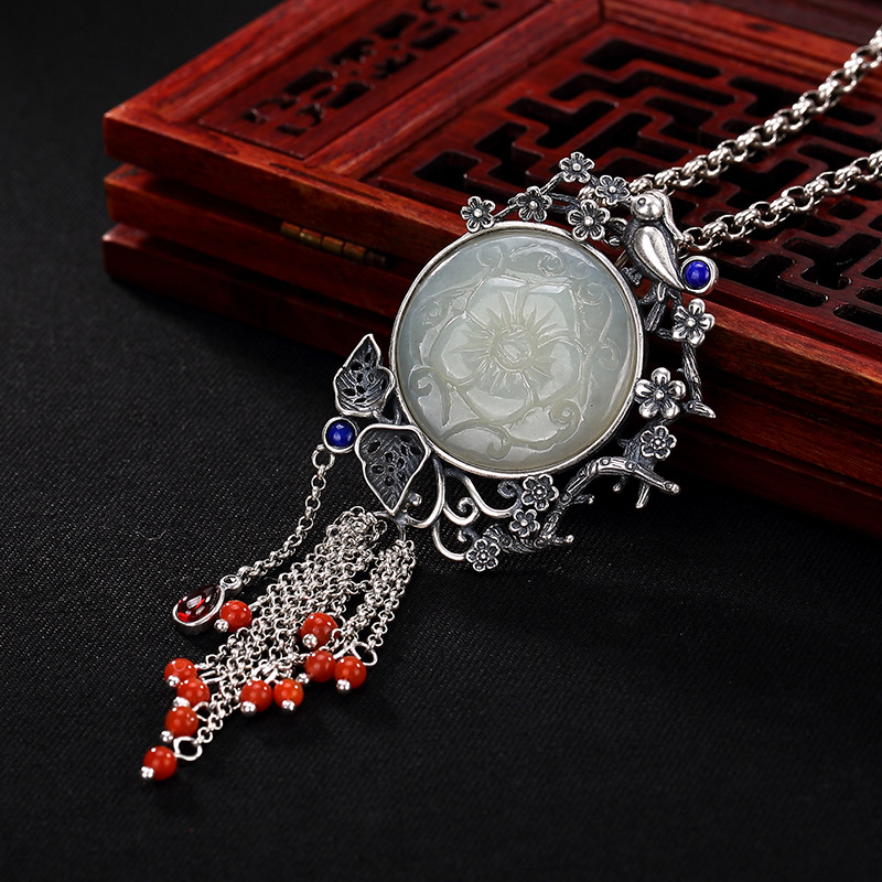 Silver Inlay Hetian Jade White Jade Magpie Restoring Ancient Ways Ms Plum Blossom South Red Tassel Pendant Wholesale цена и фото