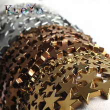 Natural Stone Gold Silver Color Pentagram Hematite Beads Flat Stars Loose Spacer Bead 4/6/8/10mm For Jewelry Making DIY Bracelet