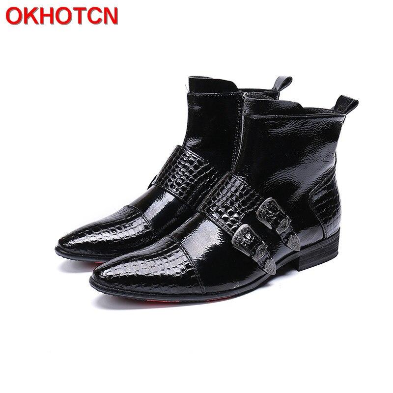 Trabalho Couro Handmade Sapatos Dedo Cinta Apontado Moda Homens Segurança Xadrez Mens Fivela Botas Preto Inverno De Genuíno w7WOXqS