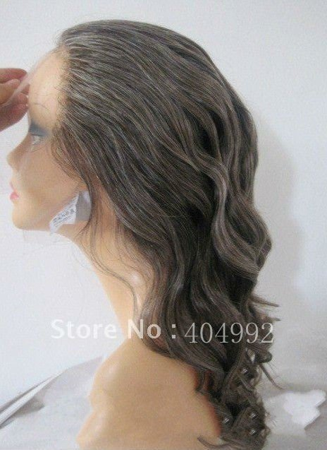 wholesale short length  remy hair french lace grey human real hair full lace wig for old woman