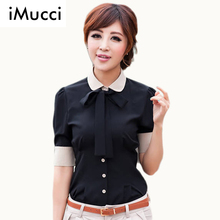 2016 New Promotions Women Blouse With Tie Hot Trendy Office Lady Career Shirt  Plus Size Cozy Women Clothes Shirt Slim Blouse