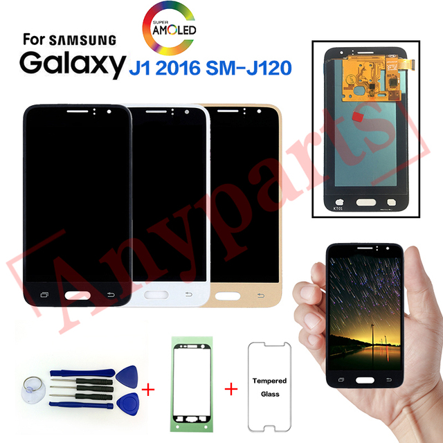 AMOLED LCD For Samsung Galaxy J1 2016 SM-J120F Display Screen for SAMSUNG SM-J120FN J120G J120H J120M lcd display replacement