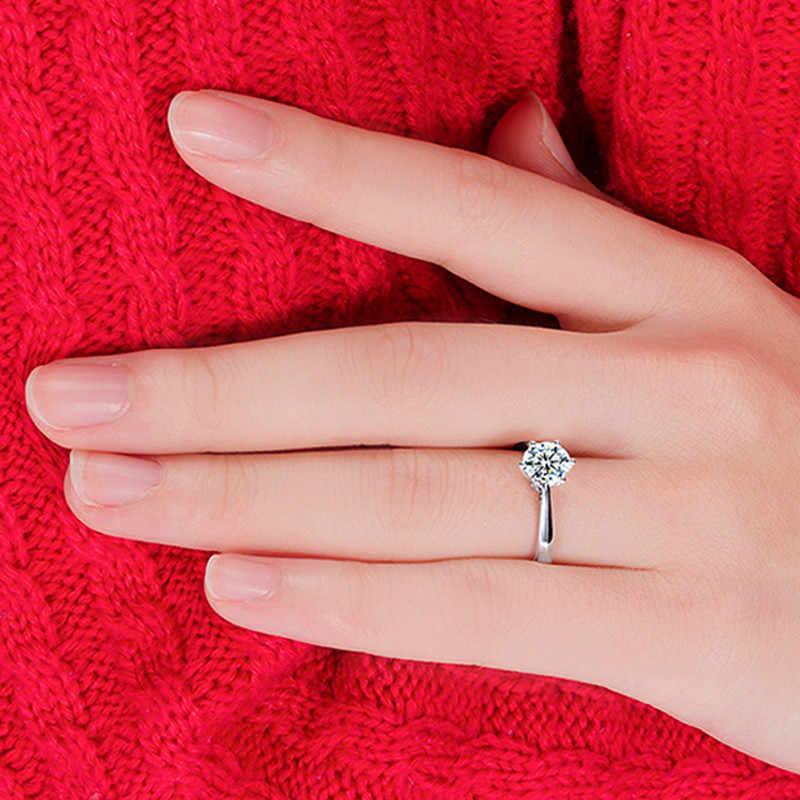 بسيطة رومانسية خواتم الزفاف مجوهرات نسائية مكعب الزركون الدائري للنساء الرجال 925 فضة خواتم الديكور باجو