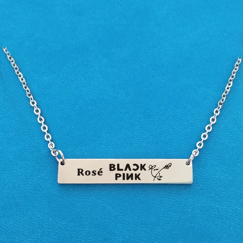Korean KPOP Team Blackpink Logo Exquisite Pendant Necklace Stainless Steel Jewelry For Women Men Fans Love Name Necklaces(China)