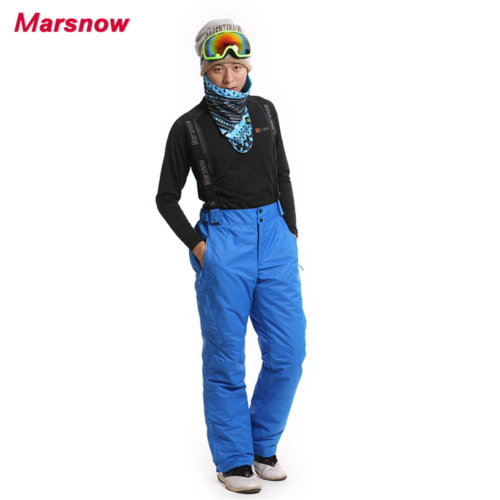 2017 Marsnow Men Skiing Pants Winter Thick Snowboarding Pants All Weather Windproof Waterproof Male Jumpsuit Ski Trousers MP06 40 man snow pants professional snowboarding pants waterproof windproof breathable winter outdoor camouflage ski suit trousers