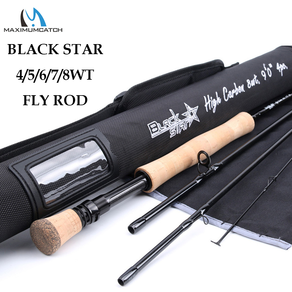 Maximumcatch Top Grade 4wt/5wt/6wt/7wt/8wt Fly Rod 9FT Carbon Fiber Fast Action Black Star Fly Fishing Rod with Cordura Tube goture bluewater series fly fishing rod 2 7m 30t carbon fiber fly rod m mf action 5wt 6wt 7wt 8wt for trout bass