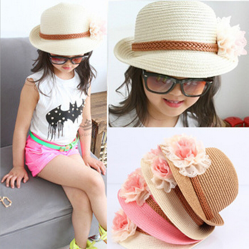 Straw Hat Baby Girls Beach Hats Cute Grils Sun
