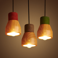 American Country Style Cement Pendant Light 130cm Adjustable Wire E27 E26 Socket Droplight 4 Colors Wooden
