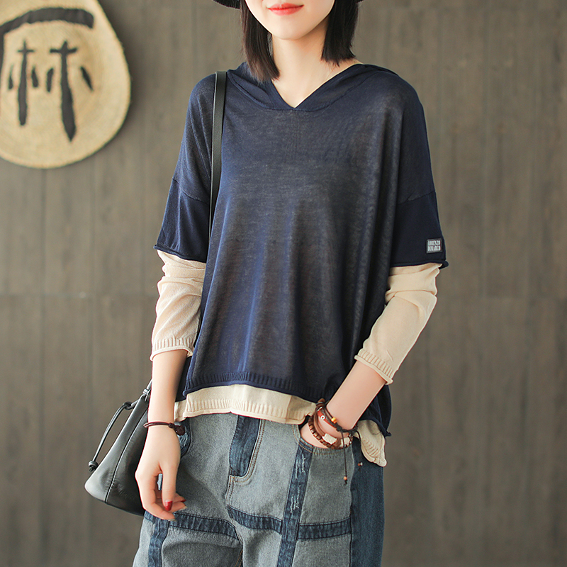 Spring T shirt Fashion Women Loose Fake two pieces Pullovers New Tops Hooded Casual Ladies T