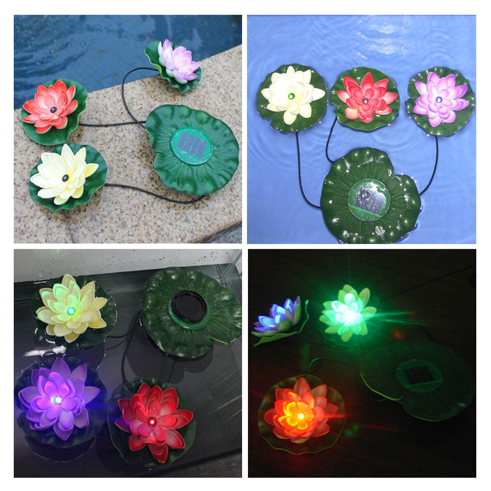 Solar powered swimming pool floating light solar floating light - Practical Garden Pool Floating Lotus Solar Light Night Flower Lamp For Pond Fountain Decoration Solar Lamps