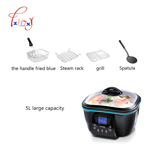 5L Multi-function Electric health pot Electric Cooker Hot Pot/grill/steam/pan fry/deep fry/bake/cake maker food Cooking DFC-818 5