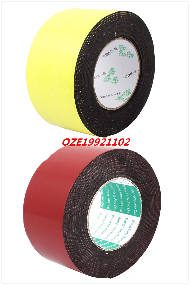 1pcs 60mm x 2mm Single Sided Yellow Double Sided Red Self Adhesive Shockproof Sponge Foam Tape 5M Length 1pcs single sided self adhesive shockproof sponge foam tape 2m length 6mm x 80mm