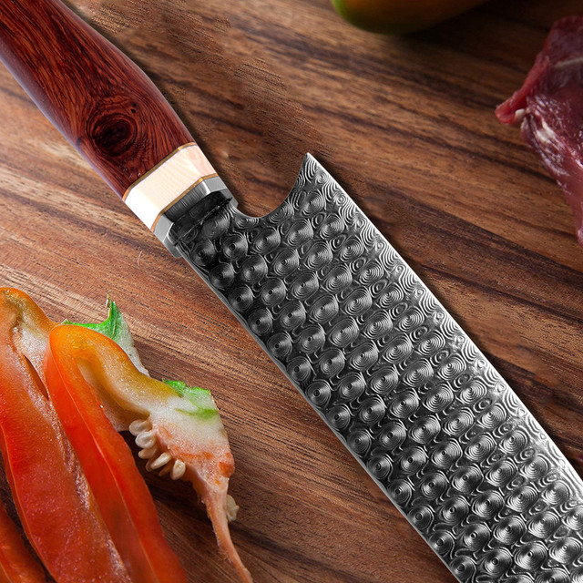 Hand Forged Damascus Santoku Chef Knife