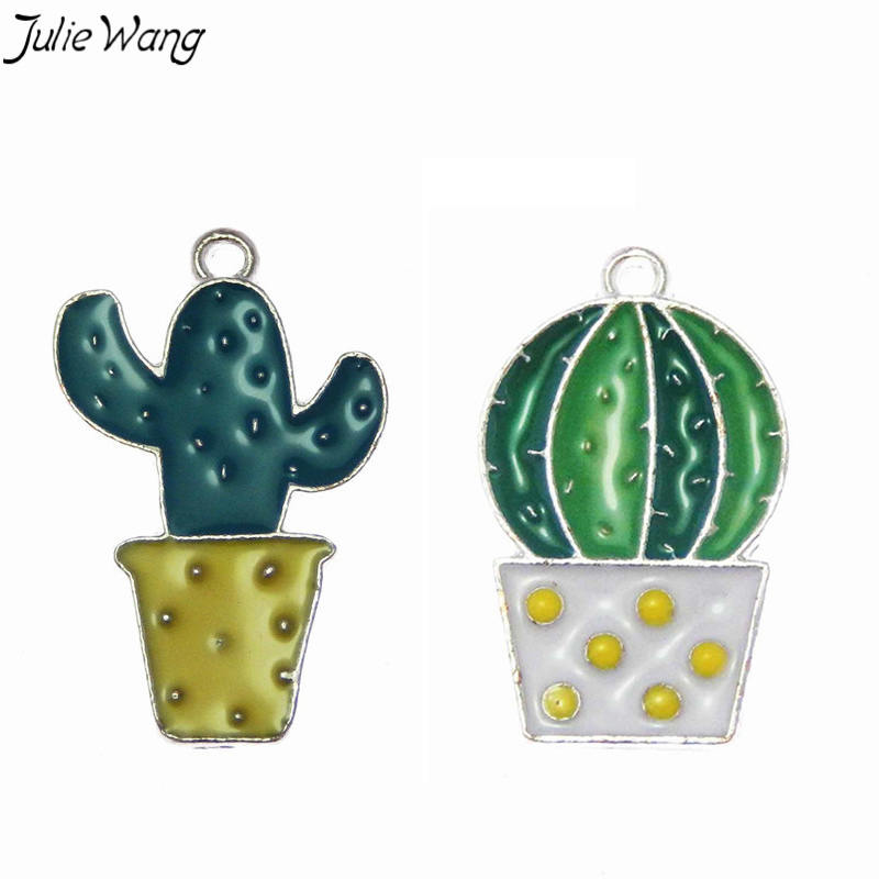 Julie Wang 10PCS Colorful Enamel Cacti Pendant Little Green Plant in Pot Zinc Alloy Charm DIY Cute Drop Earring Women Jewelry