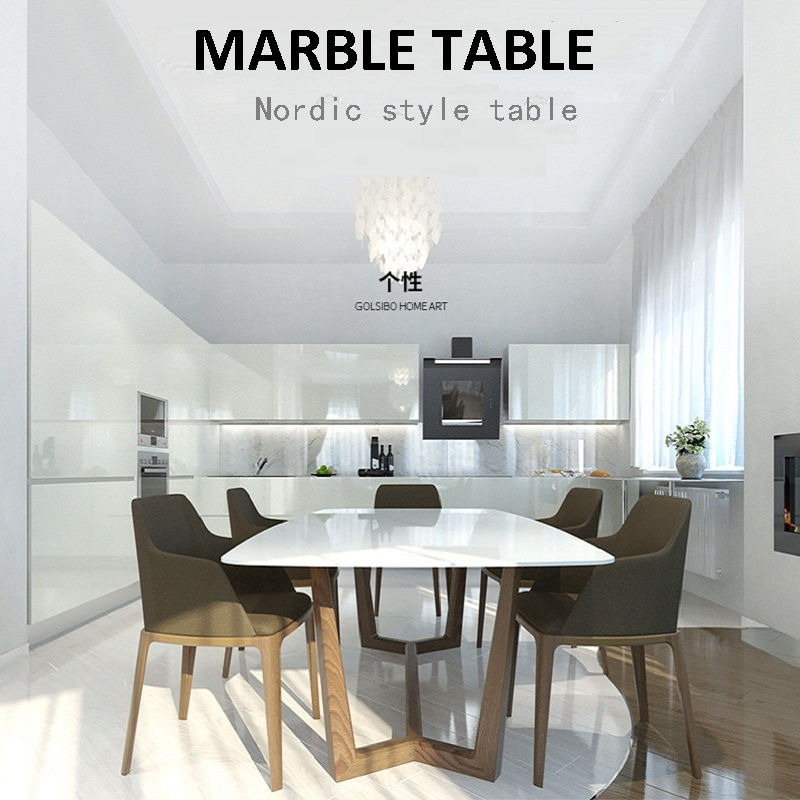 U-BEST Modern Simple Small Apartment Rectangular Nordic Marble Top Table And Replica Chairs Combination