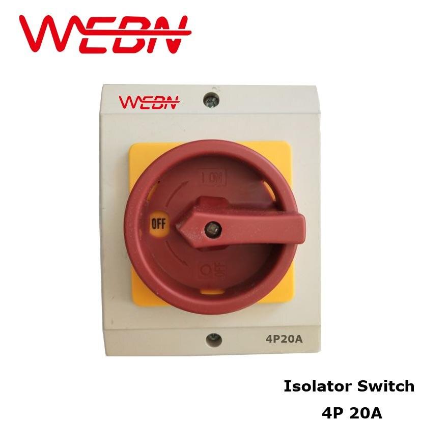 OKP Series 20A Interruptor Isolador Rotativo À Prova de Intempéries OKP-20A/4 P Com Caixa Protetora ON-OFF Função de Corte de Energia