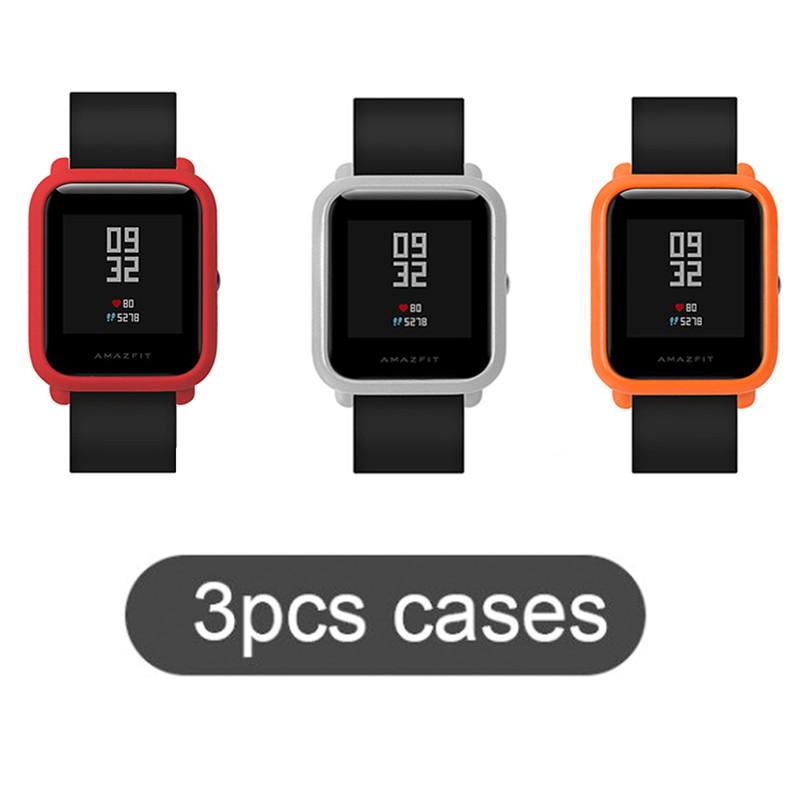 SIKAI 3 Pcs Original Watch Case Movement PC Protective Case For Xiaomi Huami Amazfit Bip Younth Colorful PC Watch Parnis Cases pudini protective pc case for nokia 929 blue