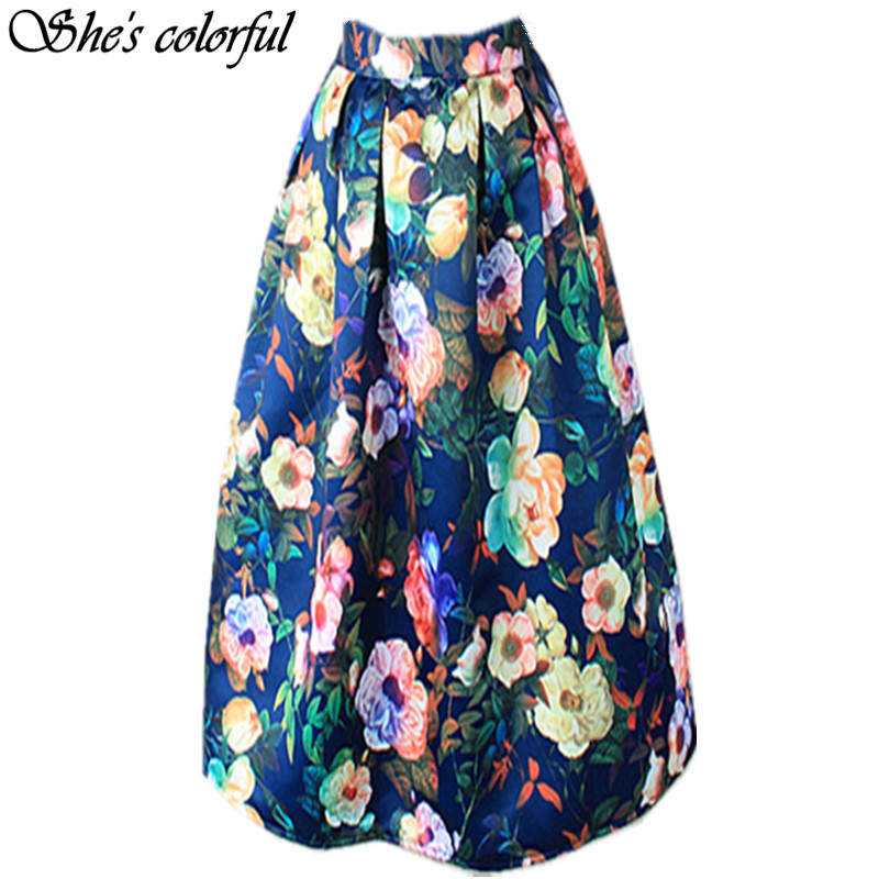 New Women100cm Non transparent Fashion Satin Long Skirt Vintage Retro Floral Print High Waist Pleated Flared Maxi Skirt FASK21|satin long skirts|fashion long skirtfashion maxi skirt - AliExpress