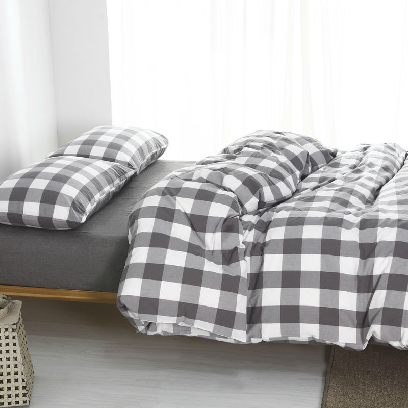Plaid Washed Cotton Twin Bedding Sets King Size Duvet Cover Bedroom 1 8m Bed Cover 4 Piece Set For Sale Free Shipping