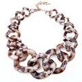 Joyería de moda Collar de Cadena Grande Cuadrada de Resina de Leopardo Collar de la Mujer