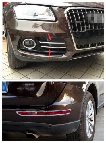 For Audi Q5 2013-2017 ABS Chrome Front + Rear Fog Light Lamp Frame cover trim 6pcsFor Audi Q5 2013-2017 ABS Chrome Front + Rear Fog Light Lamp Frame cover trim 6pcs