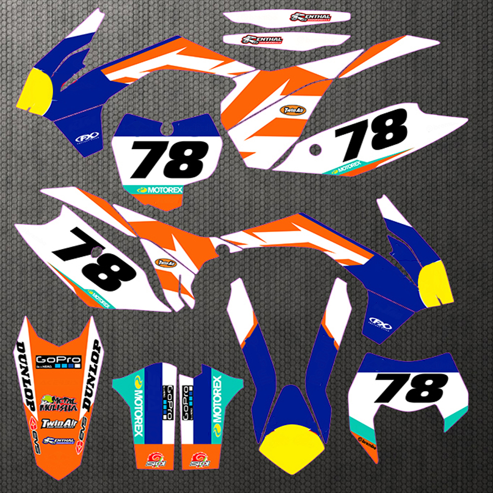 Customized Number Gloss 78 Team GRAPHICS BACKGROUNDS DECAL STICKER for KTM EXC 14 15 2014 2015