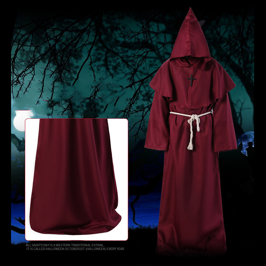 Horror Grim Reaper Costume Men Vintage Monk Cosplay Cloak Robe Scary Wizard Costume Halloween Costumes for women Dress 13
