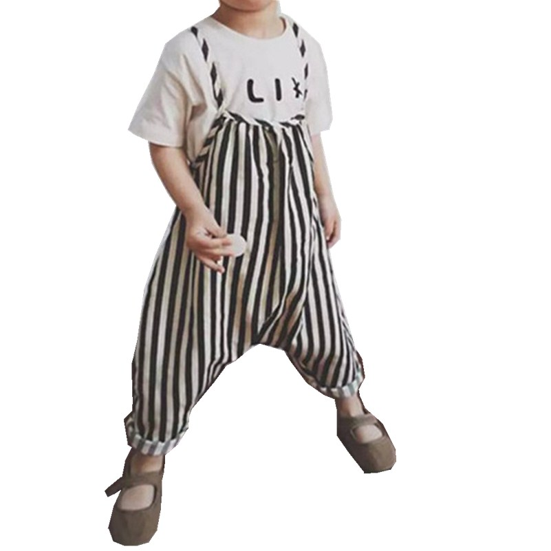 Stylish Kids Romper Sleeveless Backless Clothes For Baby Girls Romper Jumpsuit Summer Girl Stripe Print Overalls 1-5Y