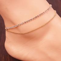 New simple foot rhinestone anklet ankle bracelets sandal beach jewelry for women wholesale JL0045