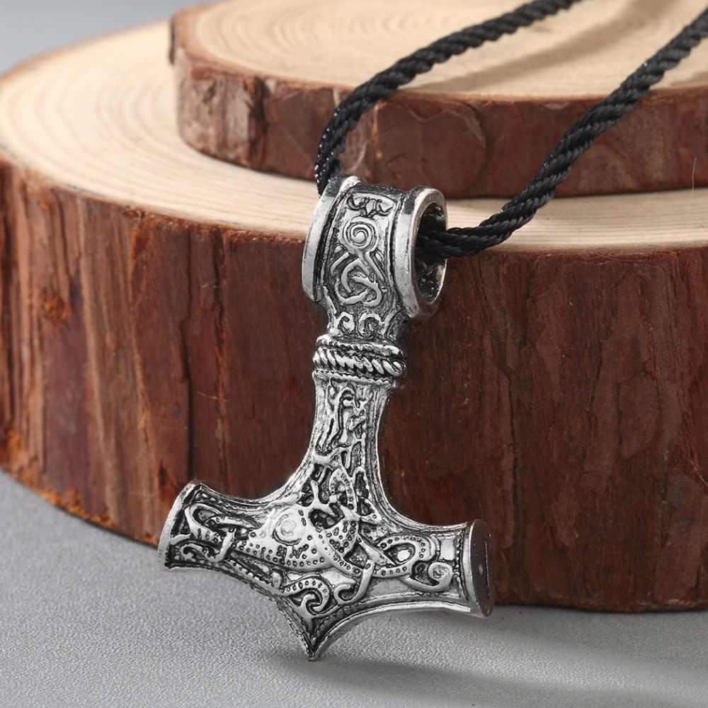 Kinitial Retro Besar Serigala Thor Hammer Kalung Mjolnir Viking Jimat Hammer Skandinavia Liontin Norse Kalung Perhiasan