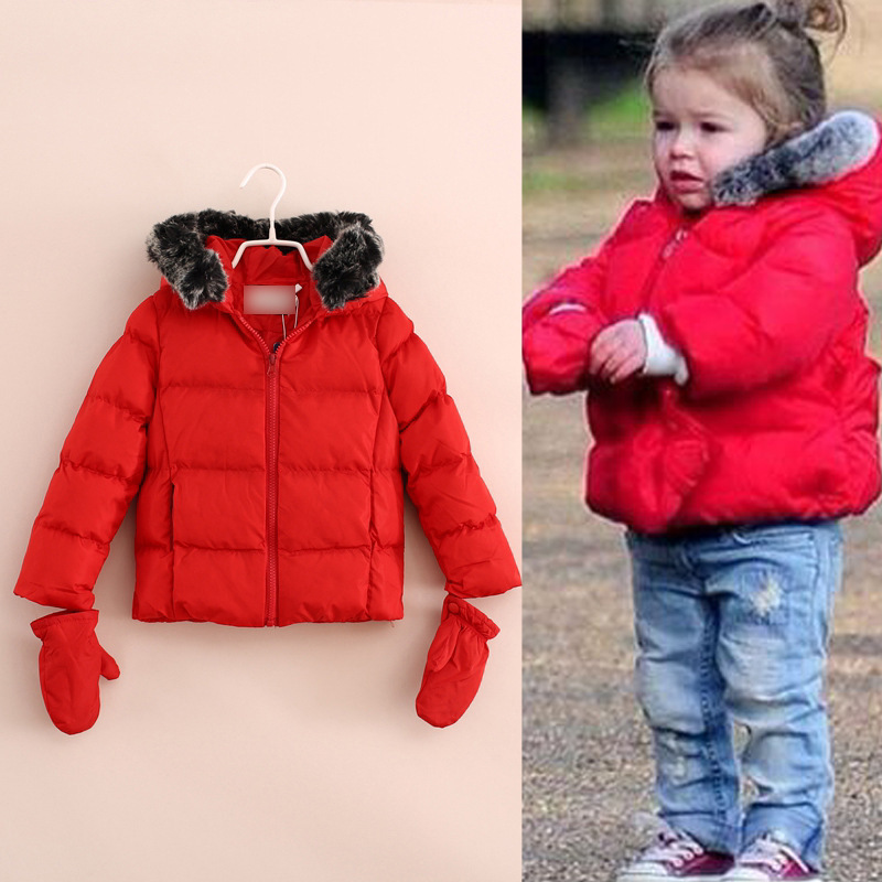 3A 8A popular star Children girls winter coat red/black/ white ...