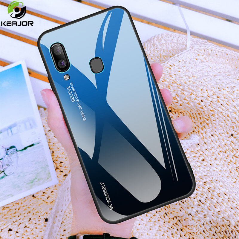 Keajor Case For <font><b>Samsung</b></font> Galaxy A40 Case Luxury Gradient Tempered Glass Back Cover Hard Armor Bumper For <font><b>Samsung</b></font> <font><b>A</b></font> <font><b>40</b></font> A40 <font><b>Hoesje</b></font> image