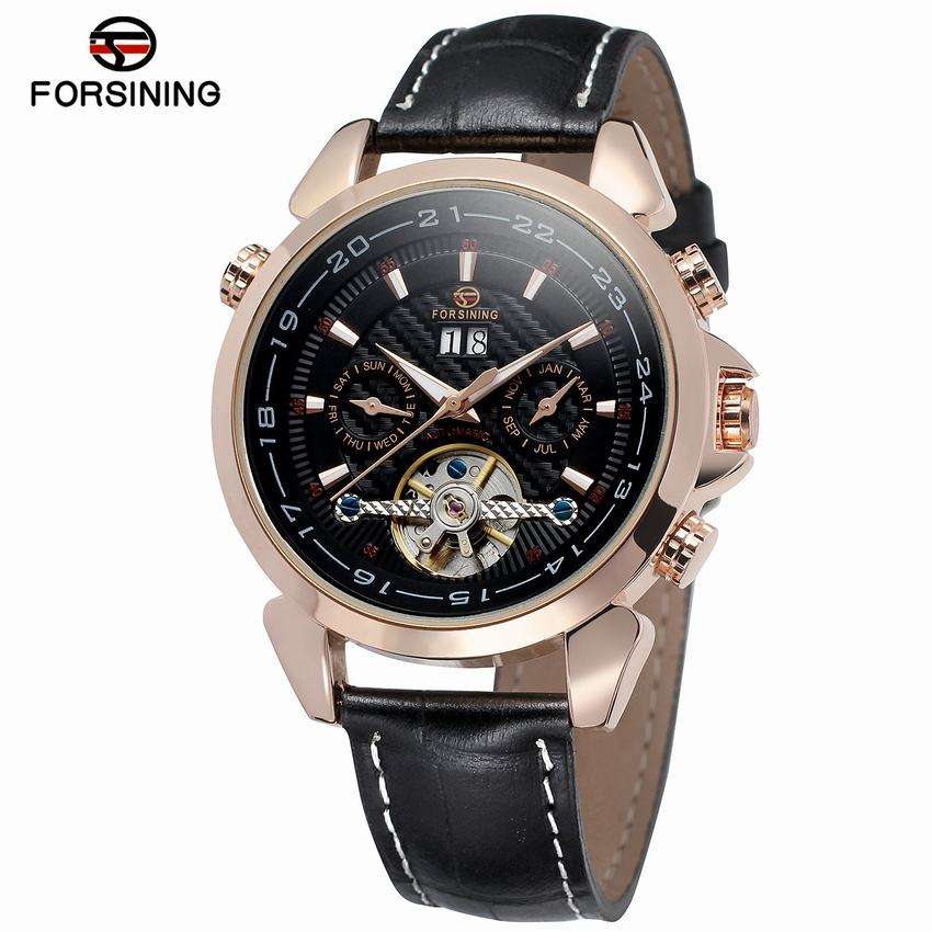 FORSINING Brand Mechanical Skeleton Tourbillon Wristwatch Date Display Mens Automatic Classic Sport Watch + Gift Box цена