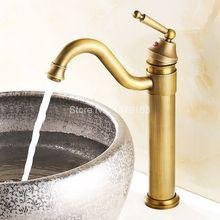 Античная Латунь Гусиная Шея Одной Ручкой Поворотный Кухня Ванная Раковина Бассейна Кран Смесители anf015